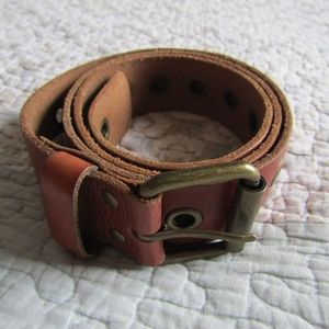 Genuine Leather Belt with Grommets, XL